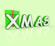 Xmas Giftbox Means Merry Christmas And Celebration Royalty Free Stock Photos