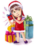 Xmas gifts. Cute girl and her xmas gifts (Rkl painting Royalty Free Stock Photo