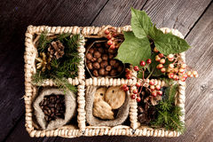 Xmas gifts in the basket Royalty Free Stock Images