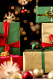 Xmas Gifts, Baubles and Stars Royalty Free Stock Image