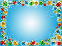 Xmas gifts blue background with snowflake Stock Photo