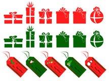Xmas gifts n tags. Collection of xmas season decoration stock illustration