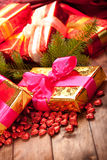 Xmas gifts and spruce tree Stock Photo