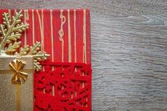 Xmas gifts on wood background Royalty Free Stock Image
