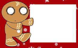 Xmas gingerbread kid cartoon expression frame background2 Stock Image