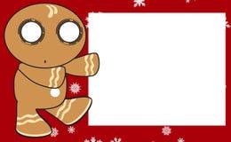 Xmas gingerbread kid cartoon expression frame background2 Stock Image