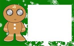 Xmas gingerbread kid cartoon expression frame background3 Stock Photos