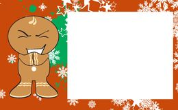 Xmas gingerbread kid cartoon expression frame background4 Royalty Free Stock Image