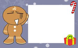 Xmas gingerbread kid cartoon expression frame background5 Royalty Free Stock Photography