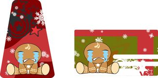 Xmas gingerbread kid cartoon expression giftcard crying Stock Photos