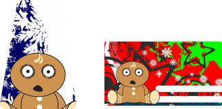 Xmas gingerbread kid cartoon expression giftcard Stock Images