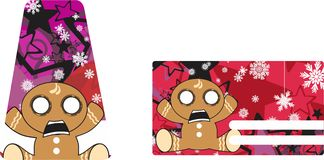 Xmas gingerbread kid cartoon expression giftcard2 Stock Photography