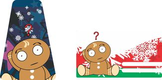 Xmas gingerbread kid cartoon expression giftcard 3 Royalty Free Stock Photo