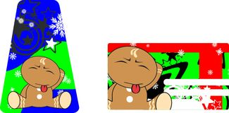 Xmas gingerbread kid cartoon expression giftcard 4 Royalty Free Stock Image