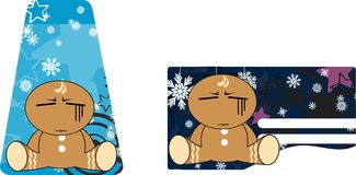 Xmas gingerbread kid cartoon expression giftcard 6 Royalty Free Stock Images