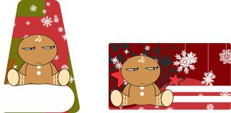 Xmas gingerbread kid cartoon expression giftcard 8 Royalty Free Stock Photo