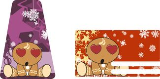 Xmas gingerbread kid cartoon expression giftcard inlove Royalty Free Stock Photography