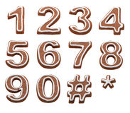 Xmas gingerbread numbers on white Stock Images