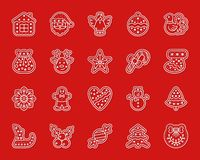 Xmas Gingerbread simple paper cut icons vector set. Christmas Gingerbread paper cut art line icon set. 3D sign kit of xmas cookie. Sweet Food linear pictograms Royalty Free Illustration
