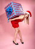 Xmas girl with gift. Full-length portrait of beautiful blonde xmas girl carrying heavy gift box on pink stock photos