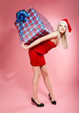 Xmas girl with gift Royalty Free Stock Image