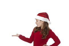 Xmas girl, hand out Stock Images