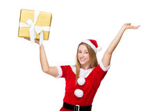 Xmas girl hold with big gift box Stock Photos