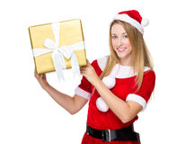 Xmas girl hold with big present box Royalty Free Stock Photos