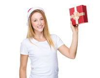Xmas girl hold with giftbox Stock Photos