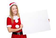 Xmas girl hold with white board Royalty Free Stock Image