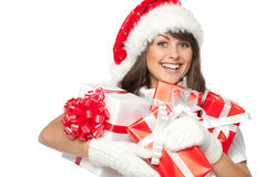 Xmas girl with many gifts Royalty Free Stock Image