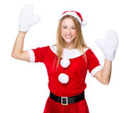 Xmas girl raise her hand up Royalty Free Stock Images