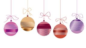 Xmas glass balls set in red and gold colors. Royalty Free Stock Images