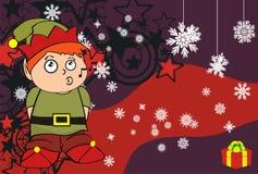 Xmas gnome elf kid cartoon background Royalty Free Stock Image