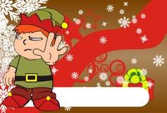 Xmas gnome elf kid cartoon background2 Stock Photography