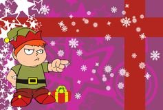 Xmas gnome elf kid cartoon background3 Royalty Free Stock Photo