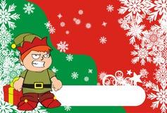 Xmas gnome elf kid cartoon background4 Royalty Free Stock Photo