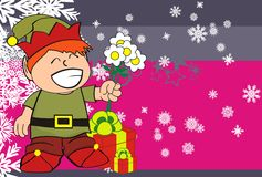Xmas gnome elf kid cartoon background5 Royalty Free Stock Images
