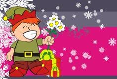 Xmas gnome elf kid cartoon background5 Royalty Free Stock Images