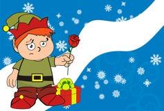 Xmas gnome elf kid cartoon background6 Royalty Free Stock Photo