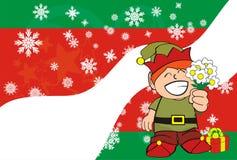 Xmas gnome elf kid cartoon background7 Royalty Free Stock Image