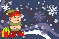 Xmas gnome elf kid cartoon background7 Stock Images