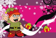 Xmas gnome elf kid cartoon background8 Stock Image