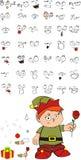 Xmas gnomo elf kid cartoon set6 Royalty Free Stock Image