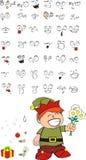 Xmas gnomo elf kid cartoon set7 Royalty Free Stock Images