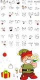 Xmas gnomo elf kid cartoon set9 Stock Photography