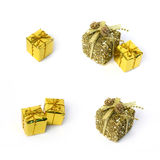 Xmas gold gifts ornaments Stock Photo