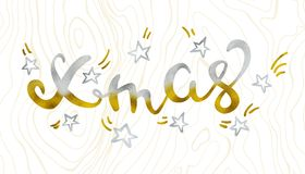 Xmas Gold and silver and star glittering elegant modern brush lettering design on a wight background vector.  Stock Photos