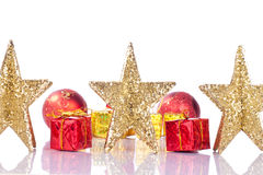 Xmas golden stars Stock Photos