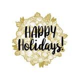 Xmas golden wreath and Happy Holidays Royalty Free Stock Photography